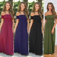 Women Maxi Long Beach Dress Evening Party Off Shoulder Dress Plus Size AU8-20