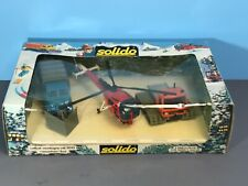 Vintage SOLIDO 7015 Mountain Box Set Helicopter Snow Cat & Blow BOXED France 80s