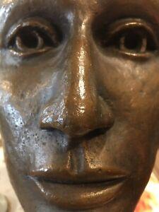 Antique Bronze Sculpture Bust Unknown Woman Realist Elegant Long Neck EXCELLENT