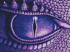 PURPLE DRAGON EYE contato CROSS STITCH KIT FANTASY 14ct AIDA
