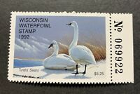 WTDstamps - 1992 WISCONSIN - State Duck Stamp - Mint OG NH --------