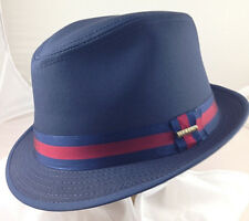 STETSON * MENS BLUE FEDORA HAT L * NEW WINTER DRESS TRILBY REPELS WATER SUN GOLF