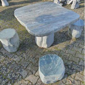 Tischgruppe Granit mit 4 Hocker Sitzgruppe Sitzgarnitur,Tischset, Tisch Garten