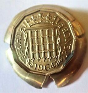 Great Britain Brass Three Pence: Massive Reverse Cap Die BU