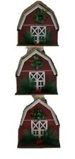 6 Piece Set Red Barn Ornaments.  Rustic Farmhouse style.