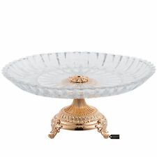 Matashi Rose Gold Plated Decorative Crystal Cake Plate,Round Serving Platter