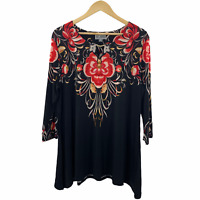 JM Collection Women's Black Floral 3/4 Sleeve Tunic Top Size XL Pleated Henley