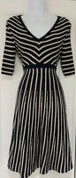 Womens Boden Blue Beige Striped Wool Mix Fit And Flare Knitted Jumper Dress 8Vgc
