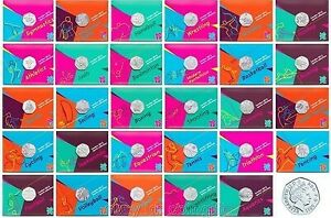 2012 London Olympic Sport Games 50p Coins Carded,Album,Completer Medallion