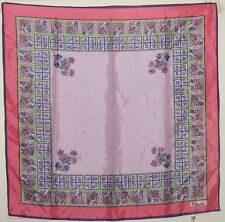 "TERRIART Pink, Lavender, Purple Floral Box Stripes 27"" Sq Scarf-Vintage - PAOLI"