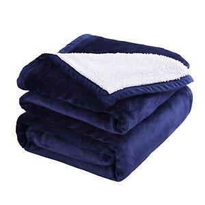 MarCielo Sherpa Throw Blanket Microfiber Velvet Soft Borrego Reversible All Size