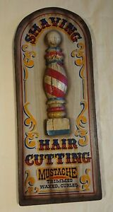 Vintage copy of wooden antique sign for a male barbers shop. 57 cm long.