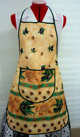 HOSTESS FULL APRON GOLD/  OLIVE LEAF & FRUIT GREEN BINDING  PARTY GIFT HOME  VGC