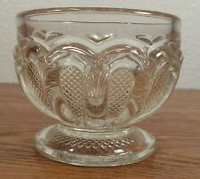 EAPG U S Glass Texas Loop W/Stippled Panels Crystal Sugar Bowl/Small Footed Dish