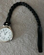 Watch Strap, Fob, Chain. (black) Extra Heavy Duty Leather Pocket