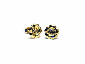 New Ladies 9ct 9Carat Yellow Gold Tudor Rose Flower Studs Earrings 6mm Hallmark