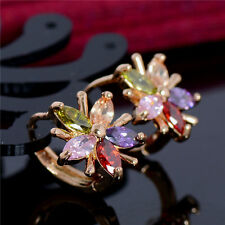 Exquisite 18K Gold Filled Crystal Rhinestone Flower Hoop Earrings Ear Clip