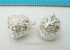 2x BRIGHT STERLING SILVER DOME PENDANT END CAP TASSEL CONNECTOR BEAD #2542