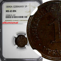 Germany-Empire Wilhelm II Copper 1890-A 1 Pfennig NGC MS63 BN TOP GRADED KM#10
