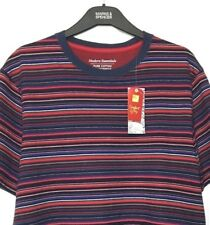 M&S Marks Small Men Red Striped Super Soft Cotton Stretch TShirt Loungewear BNWT