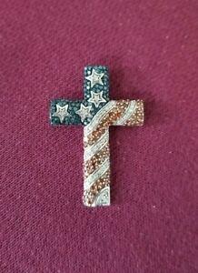 925 Silver Red Blue White God America Flag Stars Stripes Sapphire Cross Pendant