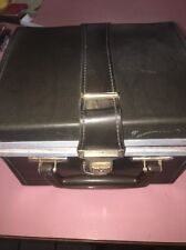 *VINTAGE* 8 TRACK CASSETTE STORAGE CASE, Black FAUX LEATHER Box- Holds 12 Tapes