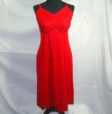 Full Slip 34 Red Lace Trim Nylon Usa Made Vintage Kayser