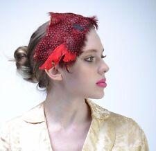 VTG 40s Red Polka Dot FEATHER Fringe FASCINATOR Wedding Holiday HAT Races Derby