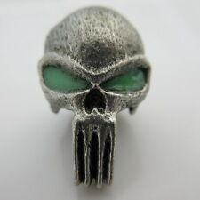 Punisher w/Glow-in-the-Dark Paracord/Leather Bead in Pewter by Marco Magallona