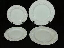 WEDGWOOD EMBOSSED QUEENS WARE 4 SALAD DINNER PLATES CREAM ON CREAM SCALLOP EDGE