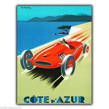 Cote d'Azur French Riviera Vintage Métal Signe Plaque Murale Poster Art Print
