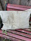 Vintage Blue and Khaki Stripe Ticking Feather Pillow