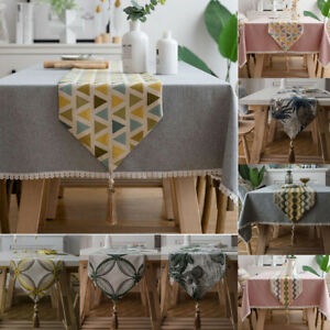Geometric Jacquard Table Runner Tassel Tablecloth Cover Bed Flag Dining Home Dec