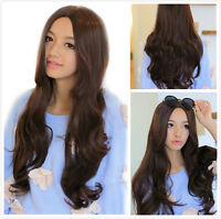 Dark Brown Anime Lolita Long Curly Wavy Women Cosplay Costume Dress Wigs+Wig Cap