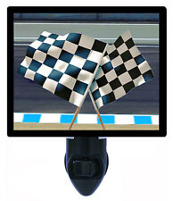 Night Light - Checkered Flags - NASCAR Flags - Racing - Finish Line - Auto - Car