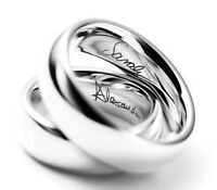 Personalised Wedding Ring 9ct White Gold Band Court Comfort Fit Hallmarked