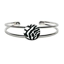 Zebra Print - Black White - Novelty Silver Plated Metal Cuff Bangle Bracelet