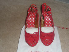 NEW CHRISTIAN LACROIX RED Canvas, LEATHER piping, SLINGBACKS SIZE 9.5 EUR 41