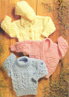 """Aran Baby Sweater & Cardy~V Neck & Round with Detachable Hood 18"""" - 32"""" To Knit"""