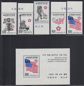 Korea Sc 1034-1038 MNH. 1976 US Bicentennial cplt incl Souvenir Sheet