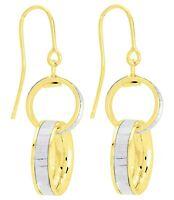 Boucles d'oreilles pendantes en or jaune et blanc 18 carats , bijoux femmes