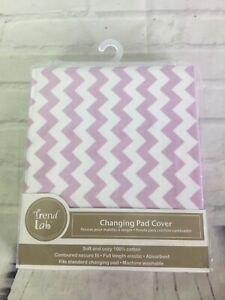 Trend Lab Changing Pad Cover Purple White Chevron Pattern Cotton Absorbent NEW
