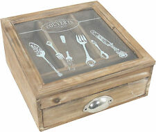 Shabby Chic French Wooden Cutlery Storage Box Holder Tray Drawer Caddy NEW
