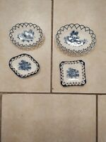Reticulated Plates White & Blue / Lot of 4
