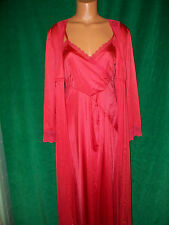 Brand Unknown very Vintage red nylon long gown & robe sz M/L bust about 36