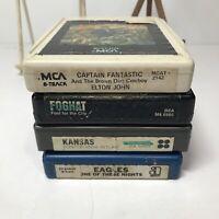 Lot Of 4 Classic Rock 8 Track Tapes~ Elton John, Foghat, Kansas, Eagles