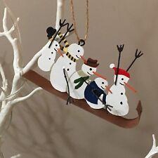 Adrenaline snowmen sledge Christmas tree decoration.shoeless joe. Metal. Ski