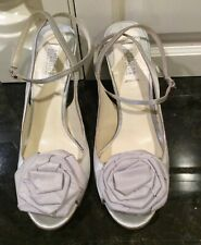 "Badgley Mischka American Glamour Silver Satin 4"" Heels, Size 10 M."