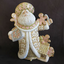 "Gingerbread Santa Claus Christmas Figurine 10.5"" Hand Painted Ceramic Holiday"