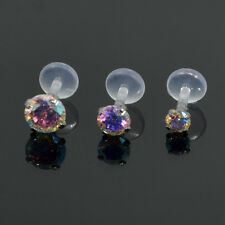 Prong set Rainbow Crystal CZ Stone Push in Bioflex Labret stud Lip Tragus helix